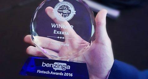 Benzinga Fintech Awards Exeria Winner Finding Alpha nagroda zwycięzca